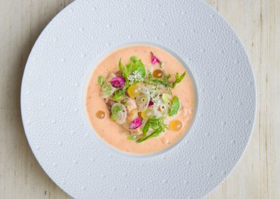 'Lon Som Muu'  A relish of slow braised pork belly, herb infused coconut cream, roasted banana chilli, sour plum, pink fish roe and banana stalk.  ຫລົນສົ້ມໝູ, ຮຸ່ມໝູສາມຊັ້ນ, ກະທິເຄື່ອງ, ປີ້ງໝາກເຜັດໃຫຍ່, ໝາກກະທັນ, ໄຂ່ປາສີບົວ, ຢວກກ້ວຍ