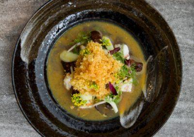 'Yum Yai' Pork belly, dried squid, jumbo crab meat, river weed fish sauce, egg floss and mint  ຍໍາໃຫຍ່  ໝູສາມຊັ້ນ, ປາຫມຶກແຫ້ງ, ເນື້ອປູໃຫຍ່,ນໍ້າປາໄຄແຜ່ນ,ໄຂ່ຂາວແຫ້ງຊອຍ ແລະ ໃບກ້ານກໍ່າ