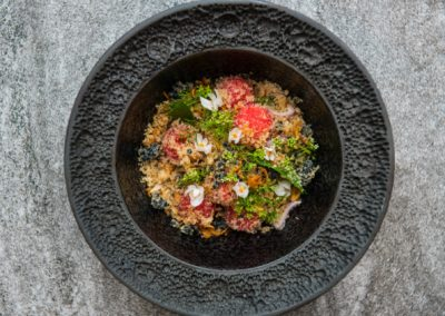 Watermelon & ground 'pa beuk' (pangasianodon gigas) the magnificent king of Laotian fish with crispy shallots, roasted galangal powder and caviar tossed through